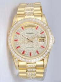 Rolex Day Date Iced White Dial With Red Bar Hour