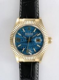 Rolex Date 18K Gold Blue Dial With White Bar And
