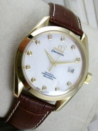 Omega Seamaster Leather Case White Dial Watches D0711053