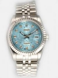 Rolex DATEJUST Etched Reseda Dial With CZ Diamon