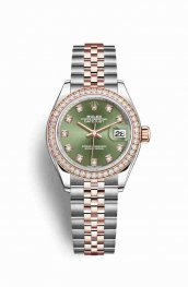 Rolex Datejust 28 Everose gold 279381RBR Olive green diamonds Watch Replica