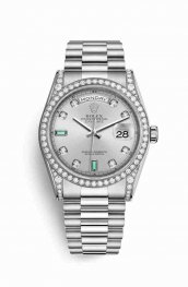 Rolex Day-Date 36 diamonds 118389 Rhodium diamonds emeralds Dial Watch Replica