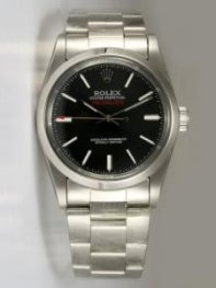 Rolex Milgauss Black Dial Shaped White Bar Hour