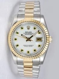 Rolex DATEJUST Oyster Dial With Green Stone Hour
