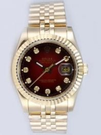 Rolex DATEJUST Wine Red Dial With CZ Diamond Hou