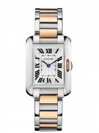 Cartier Tank Anglaise Steel & Rose Gold Ladies Watch W53