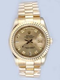 Rolex Day Date Brown Dial With CZ Diamonds And B