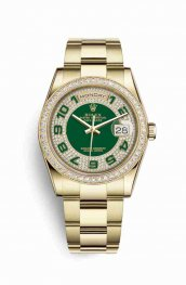 Rolex Day-Date 36 118348 Green diamond paved Dial Watch Replica