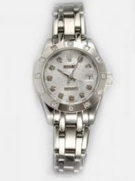Rolex DATEJUST Etched Silver Dial With CZ Diamon
