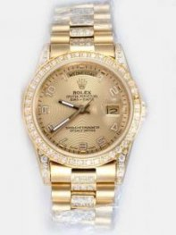 Rolex Day Date Golden Dial With Roman Hour Marke