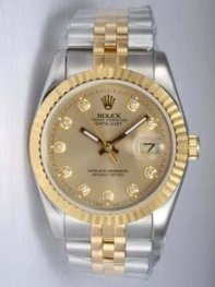 Rolex DATEJUST Golden Dial With CZ Diamond Hour